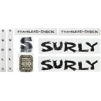 Surly Travelers Check Frame Decal Set with Headbadge: Black