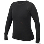 Ibex Women's Woolies Long Sleeve Crew Top: Black; XL