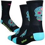 """DeFeet Aireator 5"""" Sugarskull Sock: Black/Blue"""