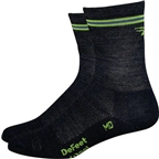 "DeFeet Wooleator 5"" D-Logo Wool Sock: Charcoal/Lime"