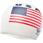 TYR Wrinkle Free Silicon Swim Cap: USA!  USA!