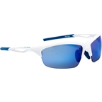 Optic Nerve Vertigo IC Sunglasses: Shiny White with Blue