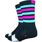 DeFeet Thermeator Sock: Black/Green/Pink Stripe