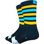 DeFeet Thermeator Sock: Black/Blue/Orange Stripe