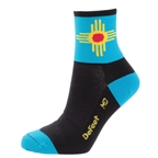 DeFeet New Mexico Hi-Top AirEator Socks, Black/Turquoise