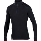Ibex Men's Woolies 1 Zip Neck Long Sleeve Base Layer Top: Black