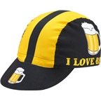 World Jerseys I Love Beer Cycling Cap: Black/Gold